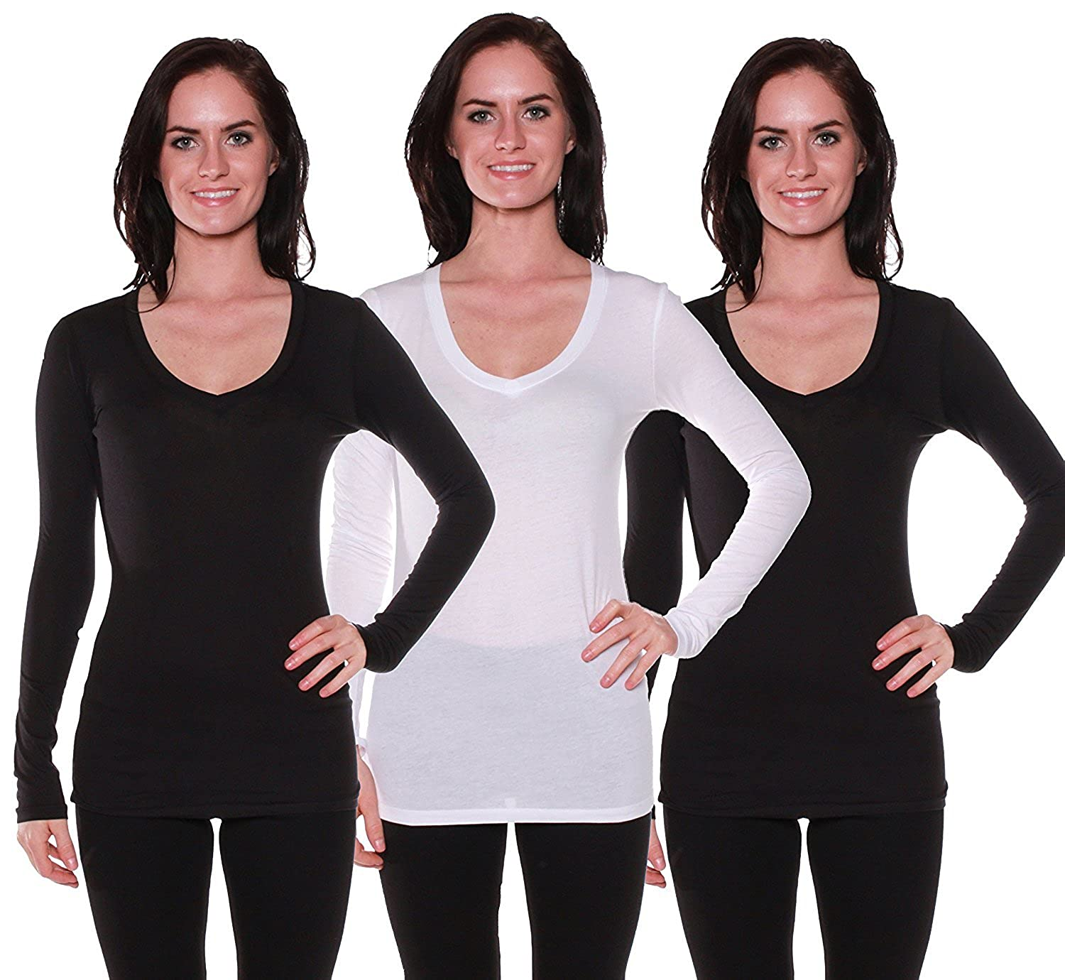 Active Basic Women's Long Sleeve V-Neck T Shirts 3 Pack(2 Blk/1 Wht-1X)