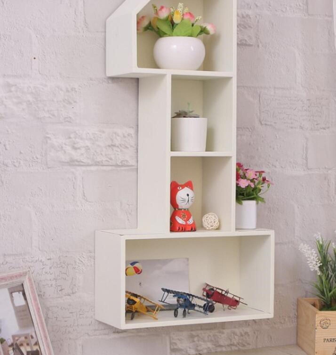 Simple retro wood wall racks home storage living room bedroom wall decoration 301160cm , white