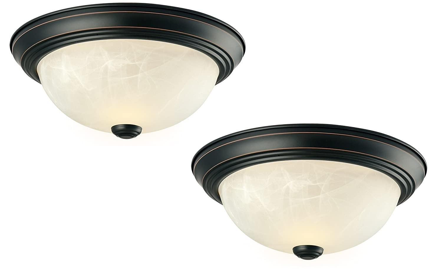 Design House 519231 2-Pack 11-Inch 2 Light Ceiling Mount, Oil Rubbed Bronze