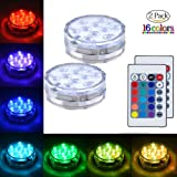 EFAN Submersible Led Light Waterproof Lights, Remote Controlled, Battery Powered, Underwater RGB Suction Cup Hot Tub Swimming Pool Pond Fountain Shower Bath Vase Hookah Red Green Blue 2Pack