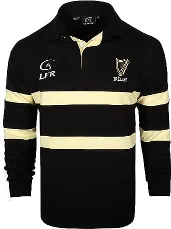Camiseta de rugby de manga larga, color negro y crema, de la marca Irlanda Harp (S-XXXL): Amazon.es: Ropa y accesorios