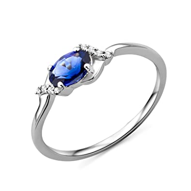 Miore Women's 9 ct White Gold Oval Topaz Ring 5k7PP7iT
