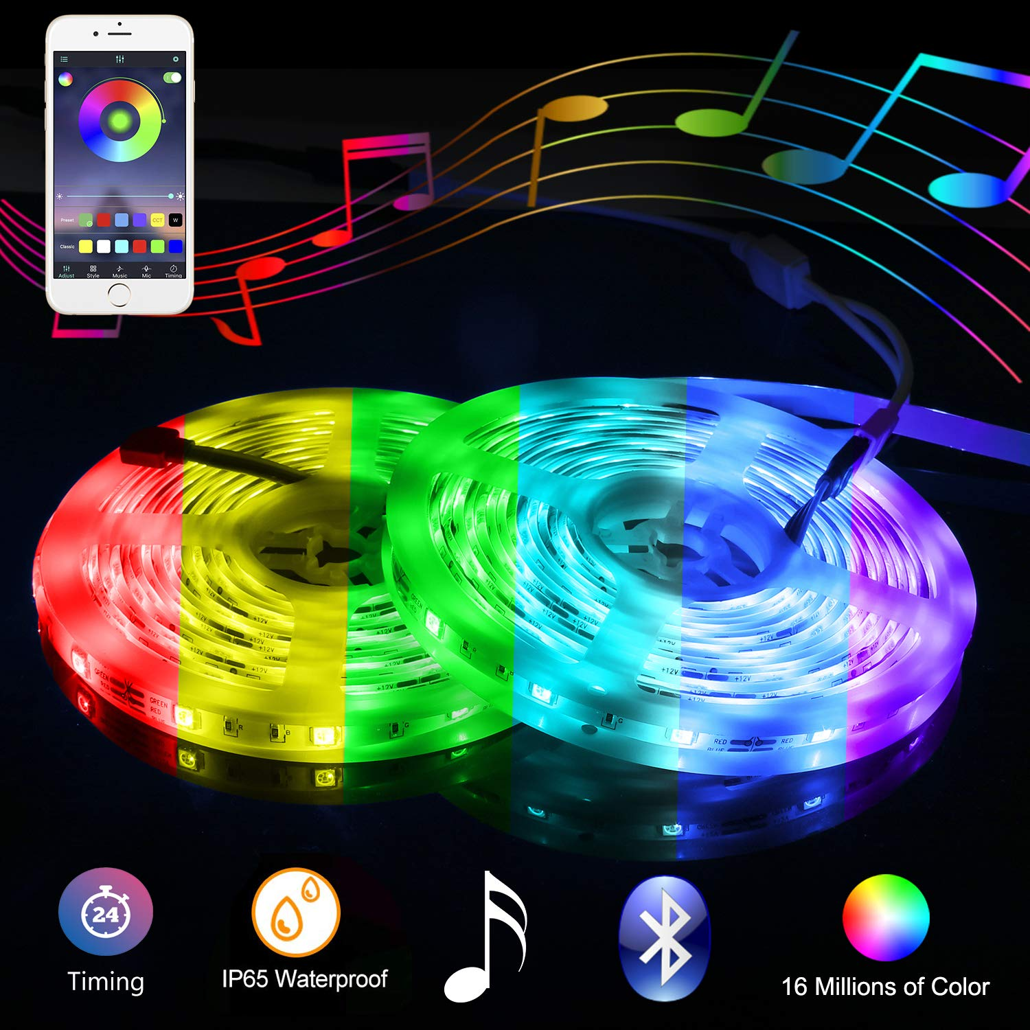 Music Bluetooth Led Lights Strip Smart-Phone Controlled 32.8ft Waterproof SMD5050 300LEDs with 12V Power Supply for Indoor Decor Party and Bar by RUICAIKUN