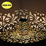 Outdoor Solar Hanging Lantern Lights Metal LED Decorative Light for Garden Patio Courtyard Lawn and Tabletop with…