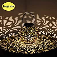 Outdoor Solar Hanging Lantern Lights Metal LED Decorative Light for Garden Patio Courtyard Lawn and Tabletop with Hollowed-Out Design. Large 7 inch.
