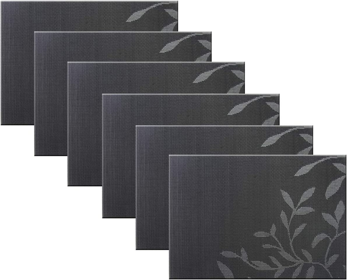 BeChen Jacquard Placemats Set of 6 with Leaf Pattern, Non-Slip Heat-Insulation Placemats Vinyl Thicken Washable Placemat for Dining Table (Black)