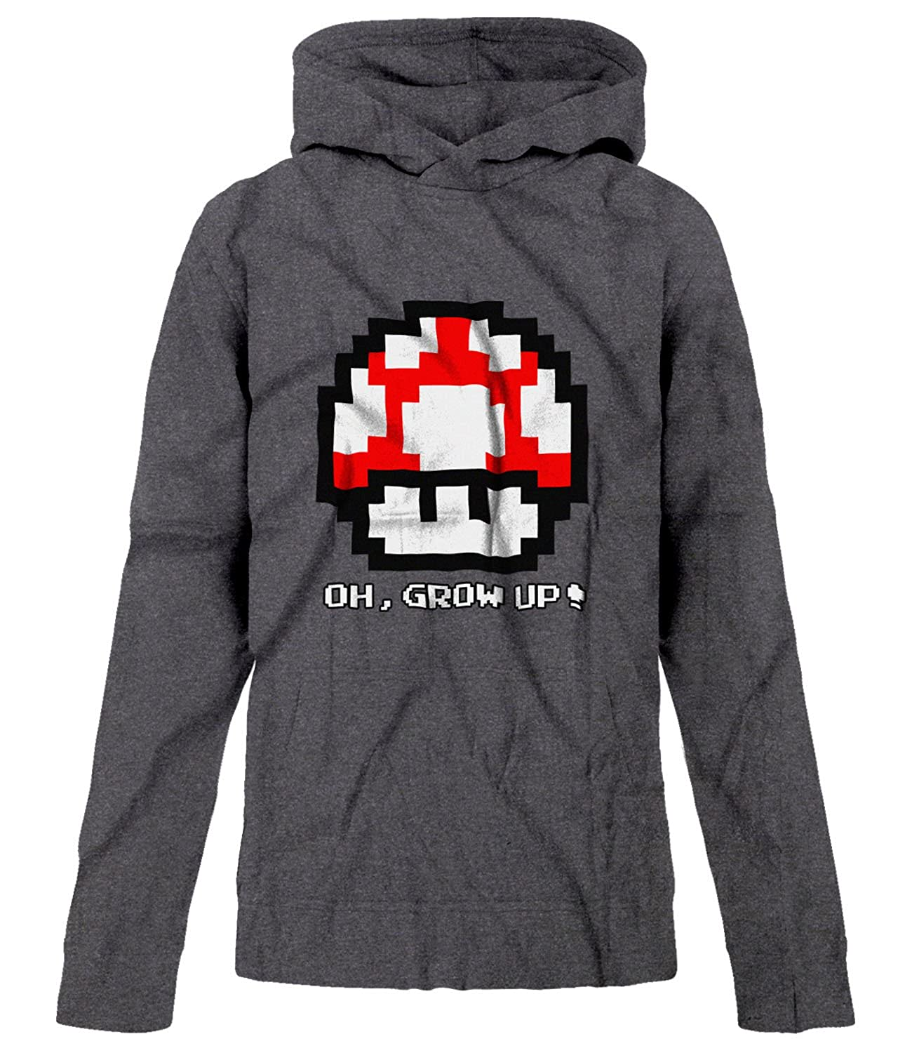 BSW Youth Boys Oh, Grow up! Super Mario Bros Super Mushroom 8-bit Hoodie 1243-1HPY