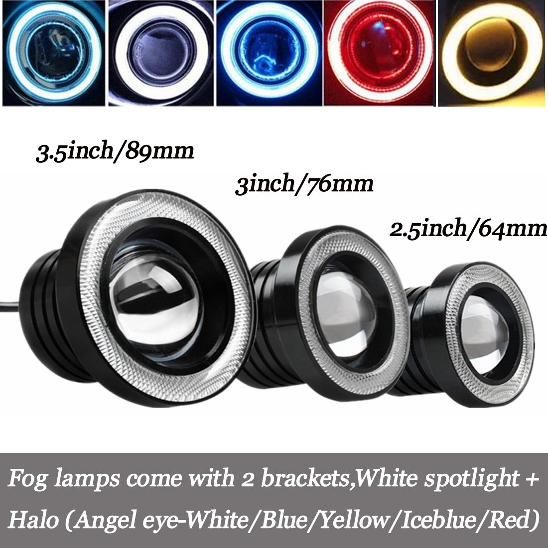 Faretti fendinebbia a LED per auto, universali, DC 12 V, colore: bianco e blu ghiaccio, 1 coppia RGAta