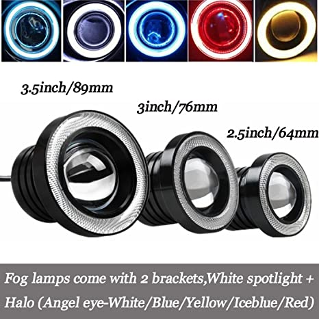 fendinebbia angel eyes  Universal car LED Angel Eye Halo lampada con fendinebbia faretto ...