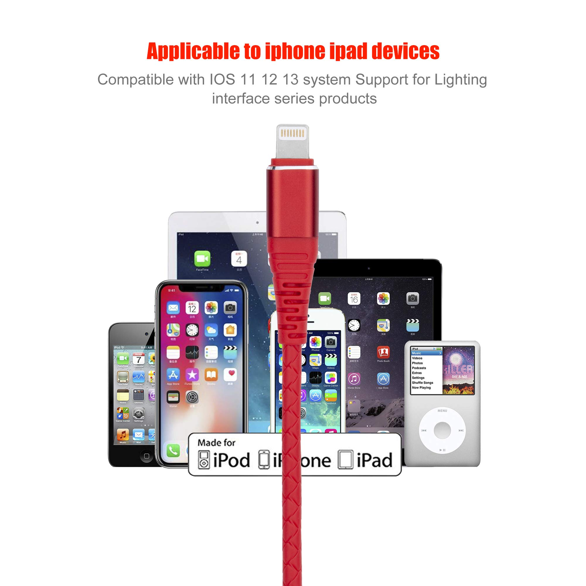 SMALLElectric Lightning Cable 5Pack 6ft,iPhone Charger Cord 6 Foot iPhone Charging Cable Cord Compatible with iPhone X/8/8 Plus/7/7 Plus/6/6s Plus/5s/5(Red) by SMALLElectric (Image #5)