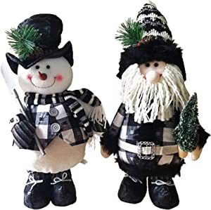 Hanna's Handiworks Christmas Snowman and Santa Decorations, Set of 2 Plush Standing Figurines, 18 inches Tall, Dressed in Black and White Buffalo Plaid for Christmas Decorating