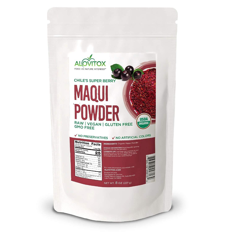 Alovitox Organic Maqui Berry Powder 8 Oz High In Antioxidants For