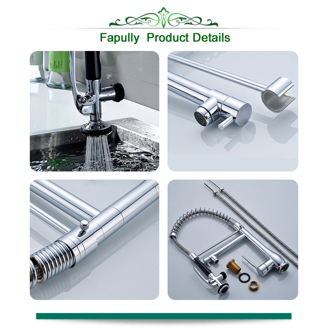 Fapully Single Handle 2 Swivel Spout Pull Down Pre-rinse Sprayer ...