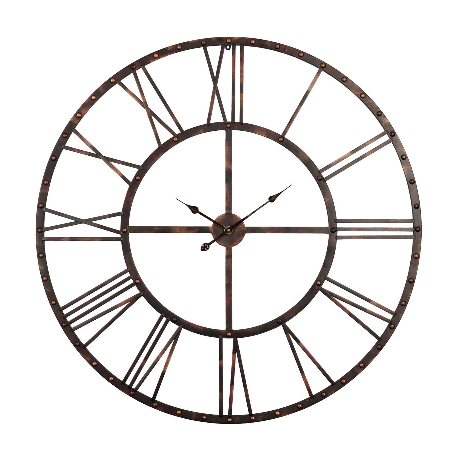 Utopia Alley Rivet Roman Industrial Oversize Wall Clock, Antique Bronze, 45'' L x 45'' H by Utopia Alley