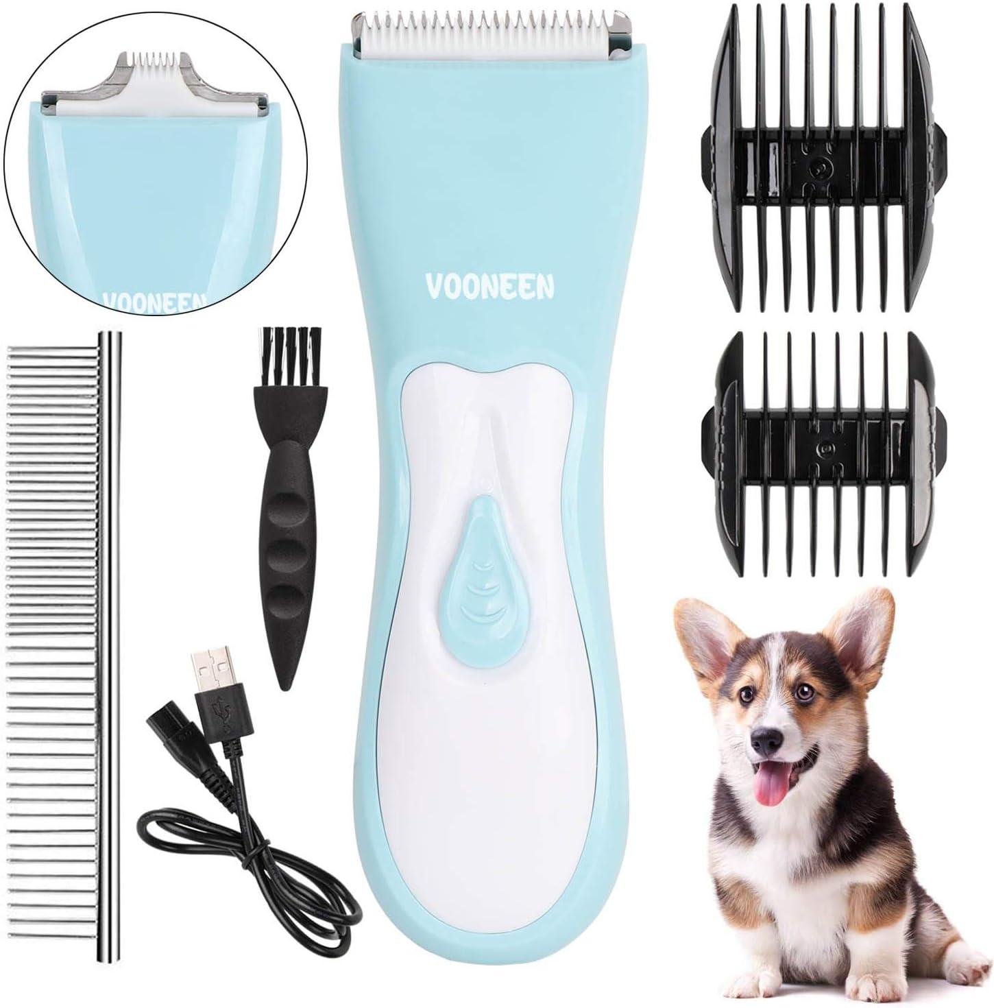 VOONEEN - Cortapelos para perros y mascotas, herramienta profesional con 2 guías de peine para perros, gatos y otros animales, bajo ruido