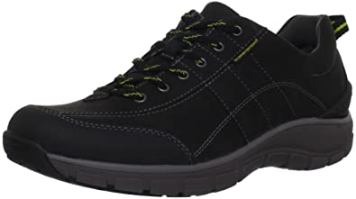 Clarks Women's Wave Trek Sneaker , Black Leather w/ Yellow Detail, ...