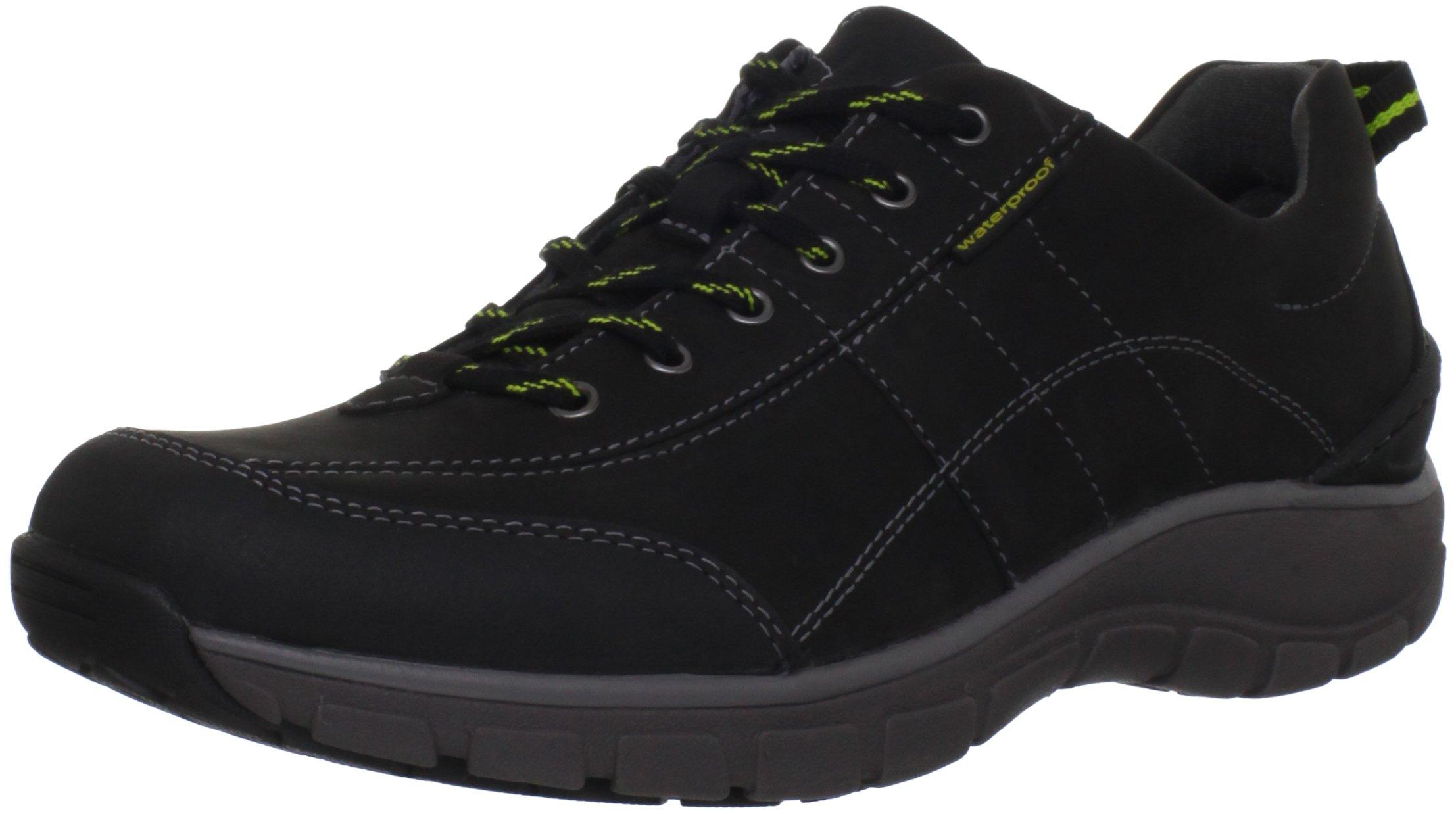 Clarks Women's Wave Trek Sneaker , Black Leather w/ Yellow Detail, 5 M US