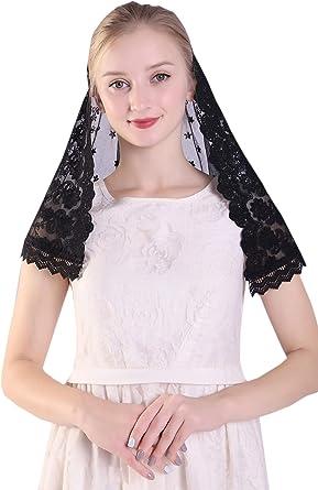 purple and white chapel veil Triangle Mantilla