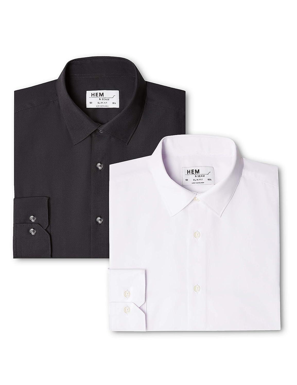 TALLA 58 (Talla del Fabricante: 17.5). Hem & Seam Camisa Lisa Slim Fit Hombre, Pack de 2
