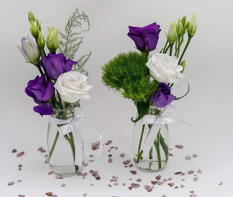 White casa-vetro 12 x Small Vase Set Jar-Round 100 Including Ribbon Table Decoration Glass Bottle Clear Decorative Flower Vase Wedding Glass 12 x 100 weiss