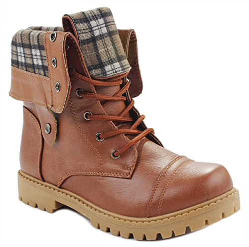 Women Foldable Plaid Cuff Mid-Calf Leatherette Lace Up Comfy Military Combat Boots