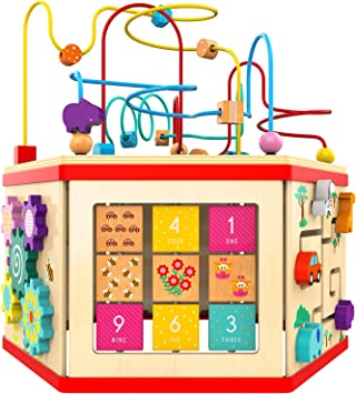 TOP BRIGHT Wooden Activity Cube for Toddlers, Activity Center for 1 Year Old Baby Play Cube Toy, Childrens Educational Counting Bead Maze Toys for One