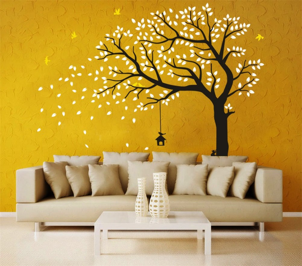CaseFan Large Falling Tree Wall Stickers Mural Paper for Livingroom ...