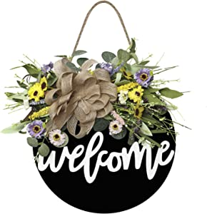 Welcome Sign for Front Door Wooden Hanging Sign Daisy and Lavender Spring and Summer Wreath for Outdoor Front Porch, Restaurant, Home (Black-welcome)
