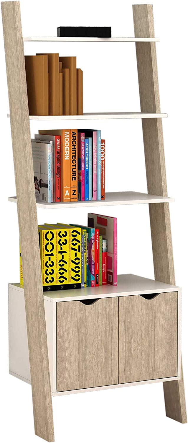 SoBuy® 3 Shelves 1 Cabinet Wall Shelf Ladder Shelf Bookcase Storage Display Shelving Unit, FRG110-WN