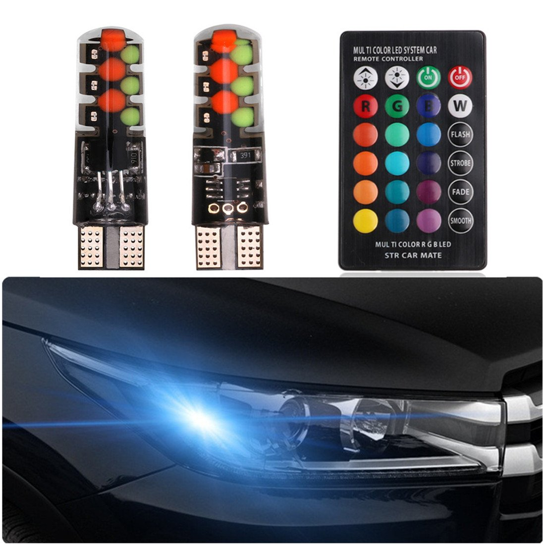 FEZZ T10 W5W 194 168 501 LED Car Bulbs Atmosphere Light RGB Remote Control for Auto Strobe Reading Side Marker Interior License Plate Light