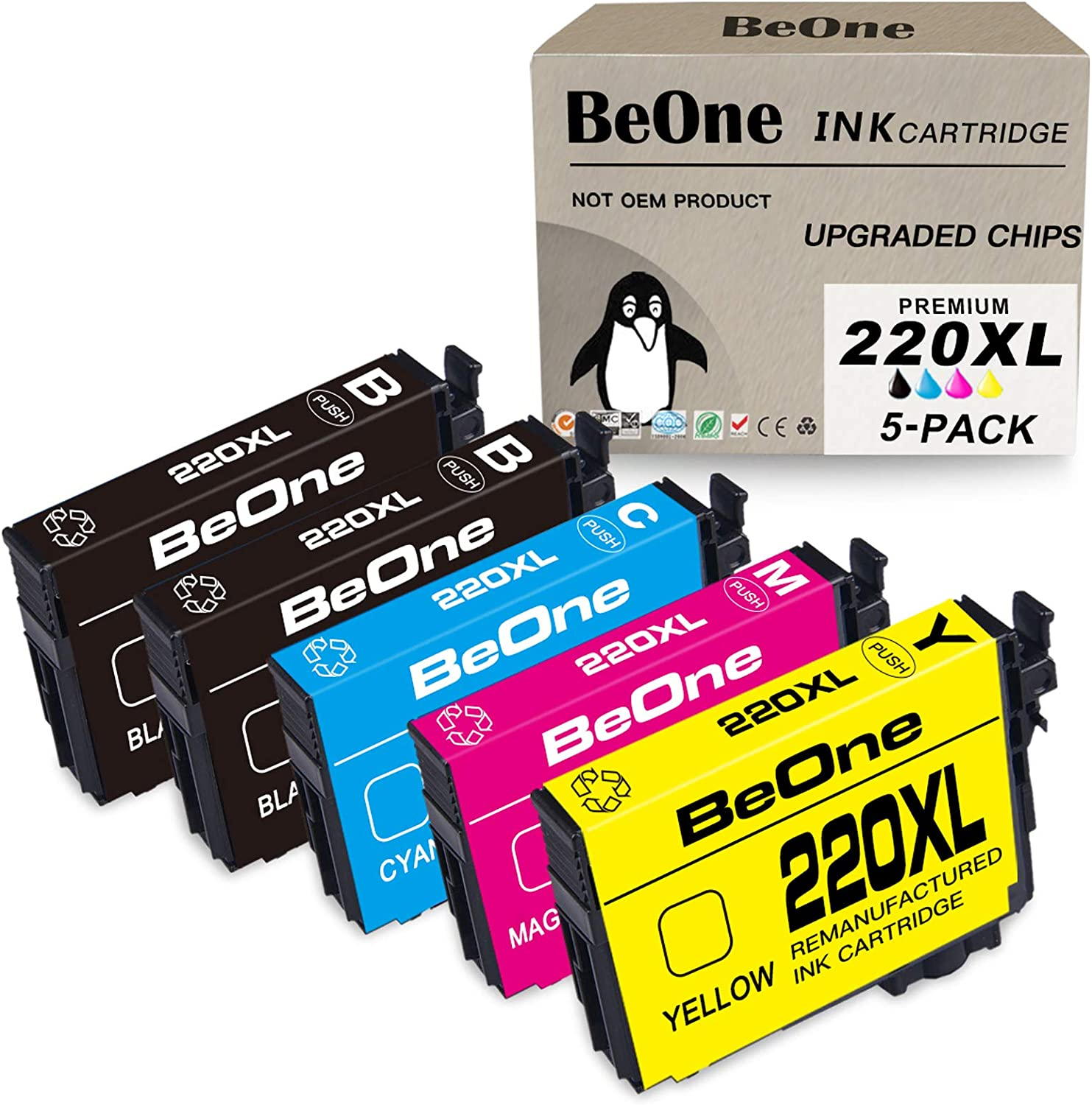 BeOne Remanufactured Ink Cartridge Replacement for Epson 220 XL 220XL T220 T220XL 5-Pack to Use with Workforce WF-2750 WF-2630 WF-2650 WF-2760 WF-2660 Expression XP-420 XP-320 XP-424 (2BK 1C 1M 1Y)
