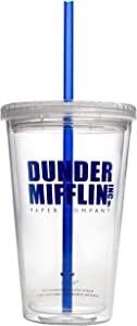 Dunder Mifflin Insulated Tumbler Cup - 16 oz | Double Wall, Reusable Plastic Acrylic - Clear - Perfect for fans of the TV show The Office - Official The Office Merchandise