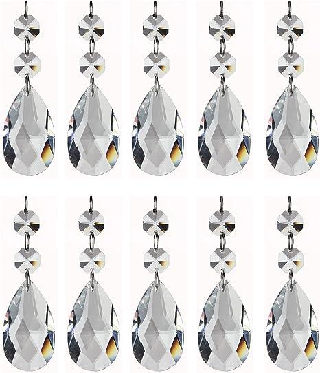 """Lot of 4 Glass Strings Antique Vintage Hanging 1-1//2/"""" Teardrop Crystals Prisms"""