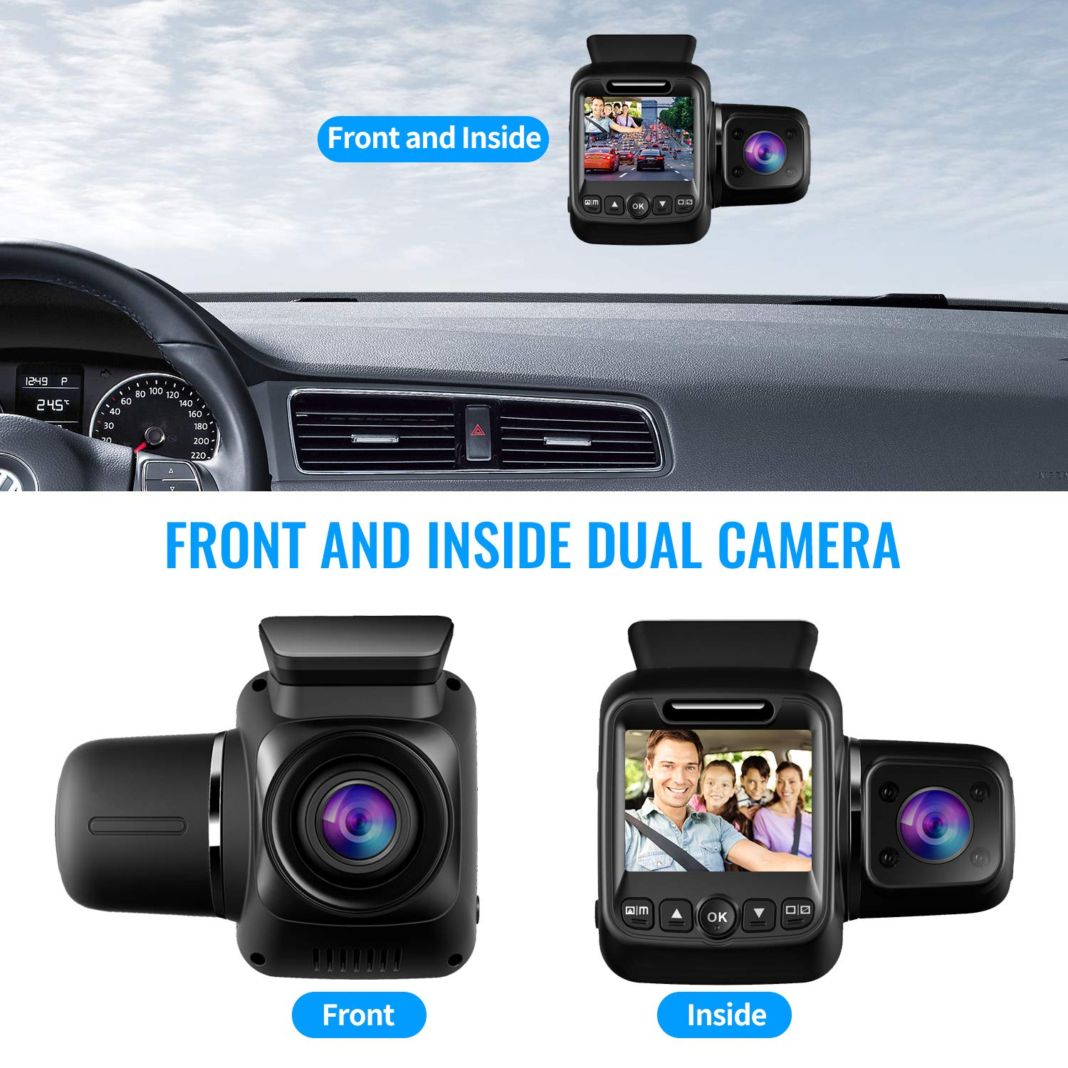 Upgraded Pruveeo P3 Dash Cam with Infrared Night Vision, Built-in GPS, WiFi, Dual 1080P Front and Inside, Dash Camera for Cars Uber Lyft Truck Taxi by Pruveeo (Image #2)