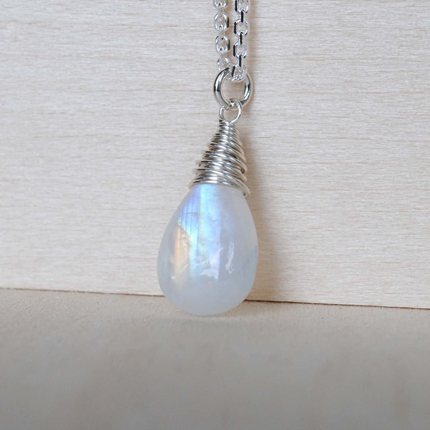 Rainbow Moonstone Drop Necklace Sterling Silver