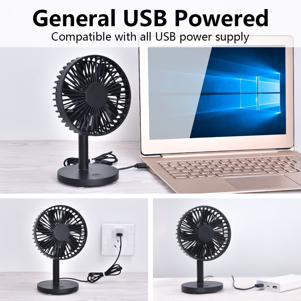 OURRY Desk Fan, Small Mini USB Table Desk Desktop Personal Fan, Quite Operation, 3 Speeds, High Compatibility, Cooling for Home, Office (Black) by OURRY (Image #7)