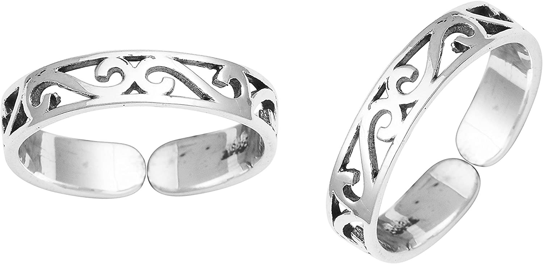 Adjustable Oxidized 925 Silver Women Foot Toe Ring Cubic Zirconia