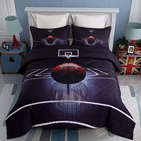 kinbedy 3d tencel cotton 3pc basketball comforter sets queen size for teen kids comforter black bedding sets 1 comforter with 2 pillowcases