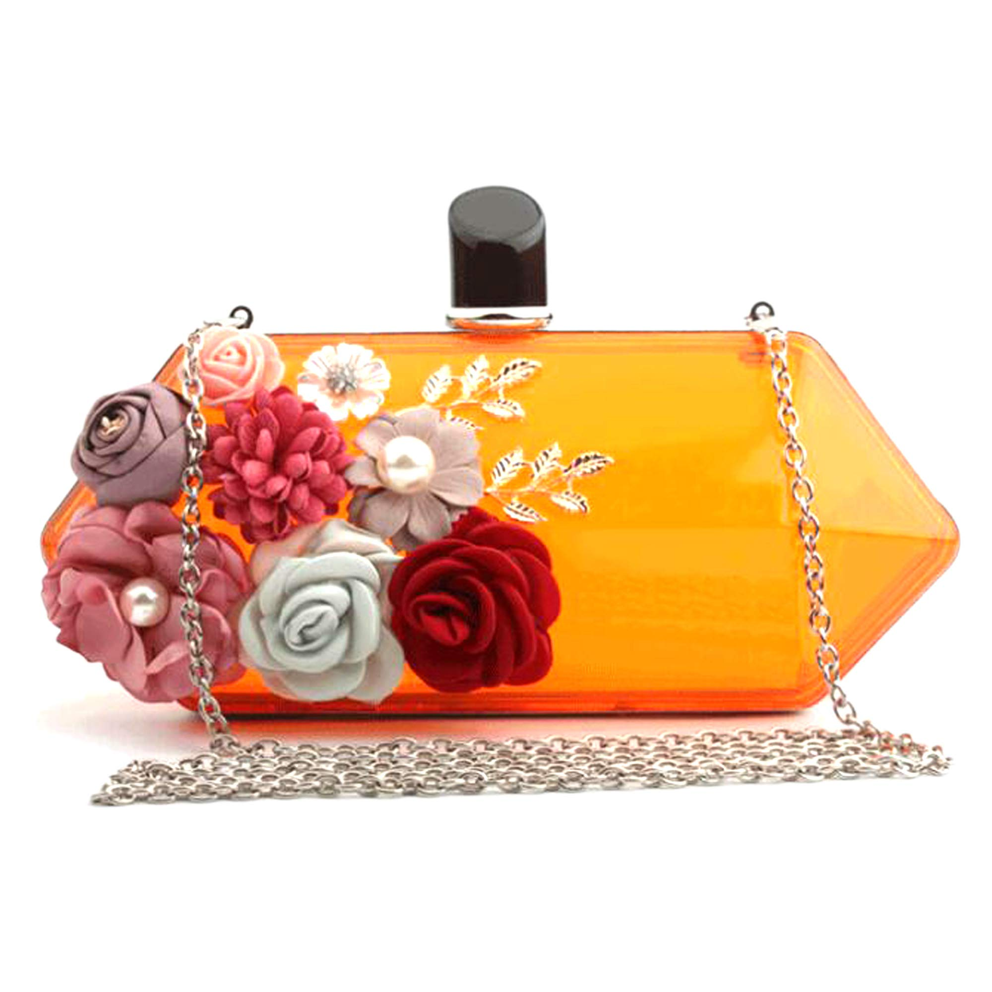 EPLAZA Women Acrylic Clutch Purse Transparent Flowers Beaded Evening Bags Handbag For Bride Wedding Party Prom (orange)