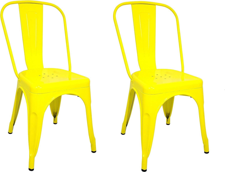 La Silla Española - Pack 2 Sillas estilo Tolix con respaldo. Color Amarillo. Medidas 85x54x45,5: Amazon.es: Hogar