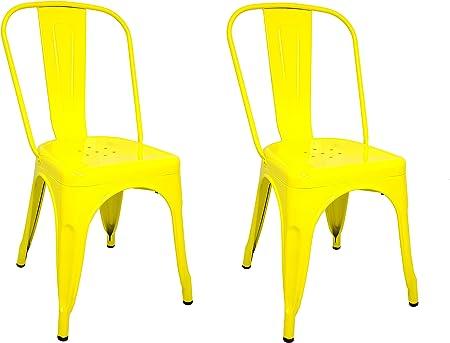 La Silla Española - Pack 2 Sillas estilo Tolix con respaldo. Color ...