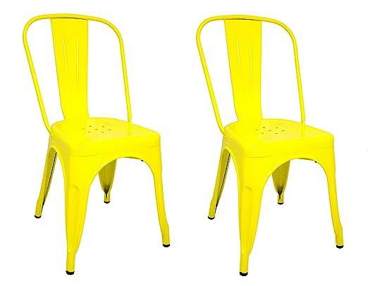 La Silla Española - Pack 2 Sillas estilo Tolix con respaldo. Color Amarillo. Medidas 85x54x45,5