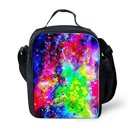 619f68d6efab Lunch Bag with Water Bottle Pocket for Kids School Trip Galaxy 3D Print  Frestree