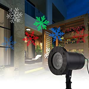 cjc Moving Snowflakes Projector Light, Projection Spotlight Christmas Lamp, LED Landscape Projector Light for Indoor/Outdoor, Xmas Light, Home Decor, Wall Decoration, Party Lighting (Colorful)