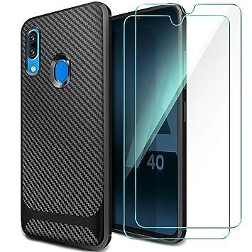 5729435566b AROYI Funda Samsung Galaxy A40, [2 Pack] Cristal Templado, Carcasa Silicona  Fibra
