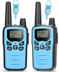 Best Walkie Talkies for Kids - 5 Miles Long Range Toys Gift for 4-12 Year Old Boys Girls, 22 Channels 2 Way Radio Backlit LCD Display, Flashlight Children Kids Walkie Talkies Outside, Camping, Hiking