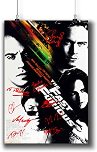 The Fast and The Furious (2001) Movie Poster Small Prints 423-101 Reprint Signed Casts,Wall Art Decor for Dorm Bedroom Living Room (A3|11x17inch|29x42cm)