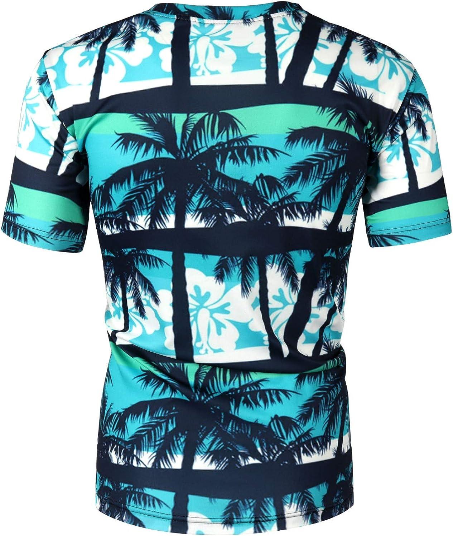 MOTOCO Hombre Camisas Hawaianas Ocasionales de la Camiseta Coloridas Impresas de la Manga Corta | Hombre Manga Corta | O-Cuello | Palmas de Playa Verano(M,Azul-1): Amazon.es: Ropa y accesorios