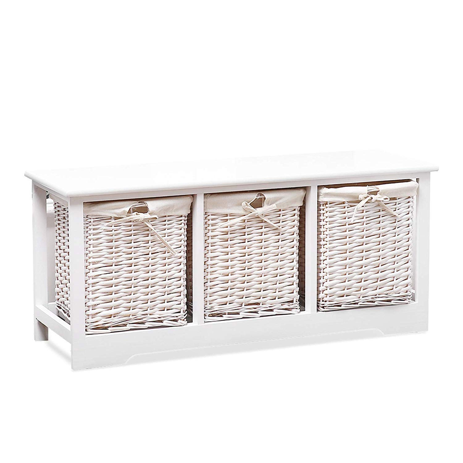 Mecor Wood Storage Bench with 3 Wicker Baskets,Entryway Furniture,Large Rectangular White