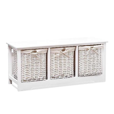 Amazon Com Mecor Wood Storage Bench With 3 Wicker Baskets Entryway